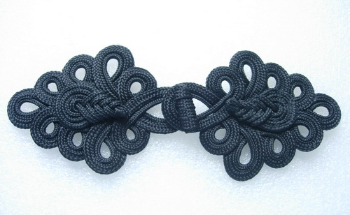 MR05-7 Macrame Fastener Frog Closure Knot Ornament Black