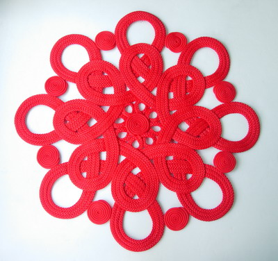 MR106 Macrame Chinese Celtic Flower Style Red Huge