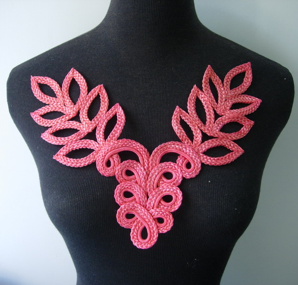 MR126-4 Macrame Corded Braided Floral Leaves Neck Collar Coral - Click Image to Close