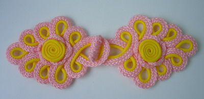 MR134 2Tone Pink Yellow Loops Macrame Corded Closure Knots