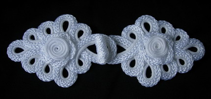 MR141 White Rose Loops Macrame Corded Closure Knots Buttons