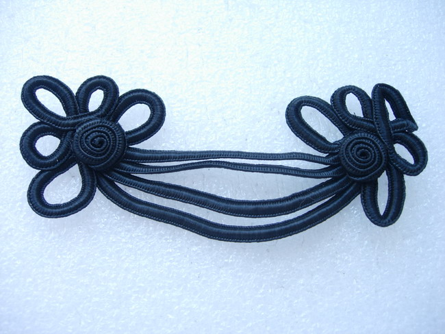 MR147 Chain Floral Braided Corded Motif Embellishment Black 4pcs