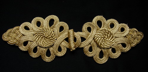 MR155 Gold Metallic Cord Braided Looped Fastener Closure Knot