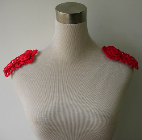 MR159 Loopy Corded Braided Epaulette Shoulder Applique Red 2pc