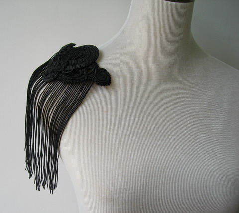 MR160 Fringe Braided Corded Epaulette Shoulder Applique Blk 2pc