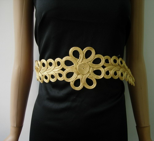 MR164 Gold Metallic Flower Loops Corded Braided Belt Hipbelt