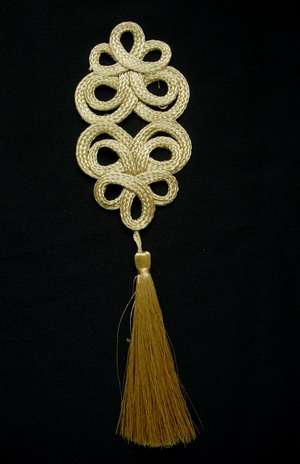 MR169 Gold Fluer De Lis Loopy Corded Braided Tassels Jewelry