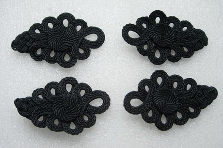 MR182 Black Corded Braided Epaulette Shoulder Applique Craft 4pc