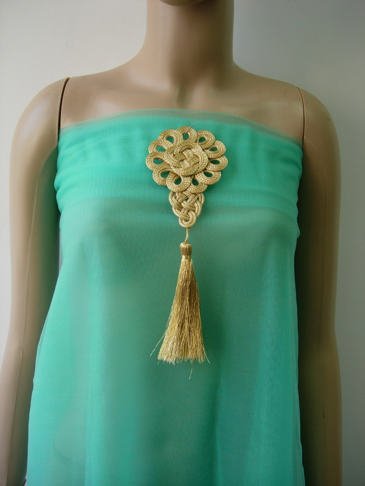 MR202 Gold Rose Flower Corded Braided Tassels Fringe Motif