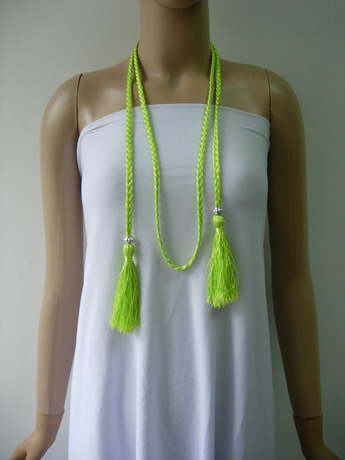 MR208 Tassel Braided Hipbelt Necklace Boho Headband Jewelry Lime