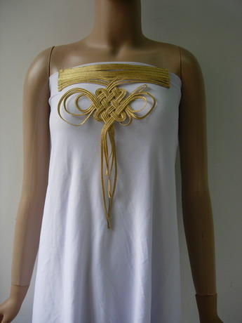 MR212 Gold Metallic Cord Braided Loopy Front-Neck Motif Sew On