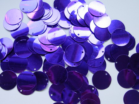 PI10 20mm Round Paillettes Sequins w/Hole Purple 200pcs/pack