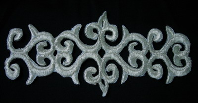 PB01 Silver Thread Trim Embroidery Applique Patch Classic Design