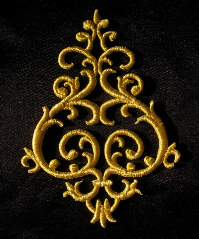PB03 Gold Thread Trim Embroidery Applique Renaissan Floral