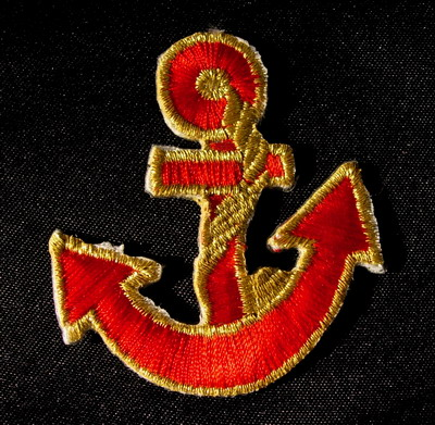 PB05 Anchor Red & Gold Emblem Patch Appliques Trim Sewing