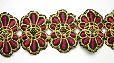 PB29 Vintage Design Gold Maroon Thread Embroidered Patch 4pcs