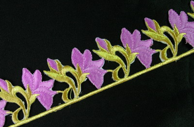 PB30 Floral Gold Lavender Thread Embroidered Patch 23""