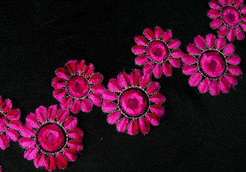 PB33 Fuchsia Twins Flowers Trims Embroidered Patch Iron On 17""