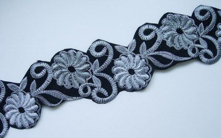 PB38-4 2Tone Grey Swirl Floral Trim Lace Patch Motif 36""