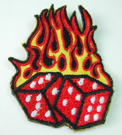 PC100 Flaming Dice Flame Dice Patch Applique