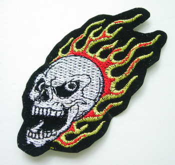 PC101 Angry Flaming Skull Patch Applique