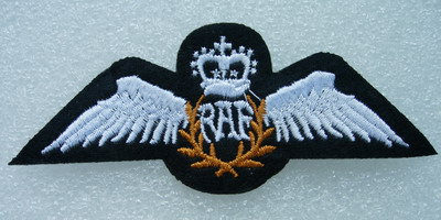 PC130 RAF Wings Embroidery Patch Royal Air Force Pilot's 2pcs