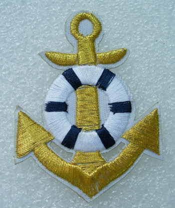 PC132 Anchor Wheel Embroidery Patch Badge Gold