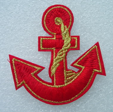 PC134 Anchor Design Embroidery Patch Badge Red