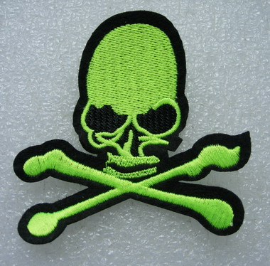 PC150 Lime Biker Flame Skull Crossbones Patch Applique Iron On