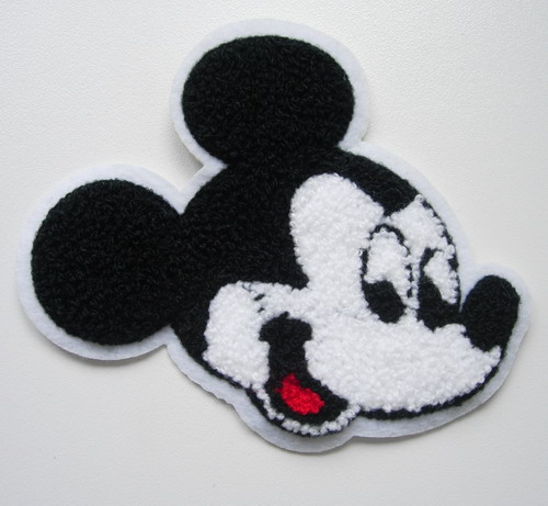 PC152 Embroidered Furry Mickey Mouse Face Applique Patch Sew On