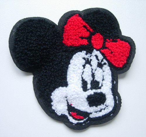 PC153 Embroidered Furry Minnie Mouse Face Applique Patch Sew On