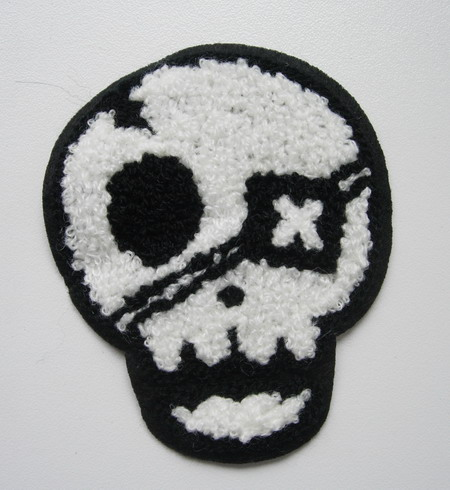 PC155 Embroidered Furry Pirate Skull Applique Patch Rock Punk