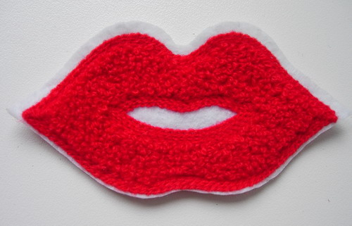 PC160 Hot LIPS lip Furry Applique Patch Sew On Fashion