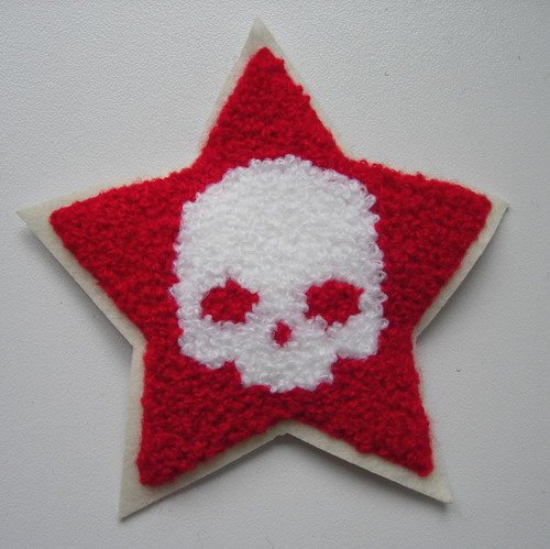 PC161 Punk STAR SKULL Furry Applique Patch Sew On Fashion
