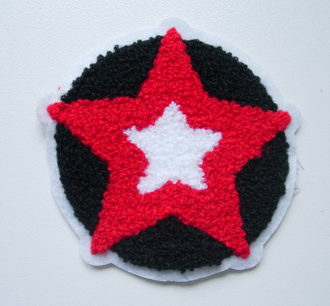 PC162 Punk STAR ROUND Furry Applique Patch Sew On Fashion
