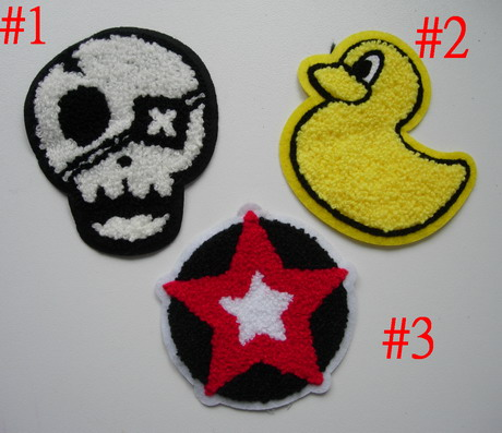 PC163 Assorted 3pcs Furry Applique Patch Skull Star Duck