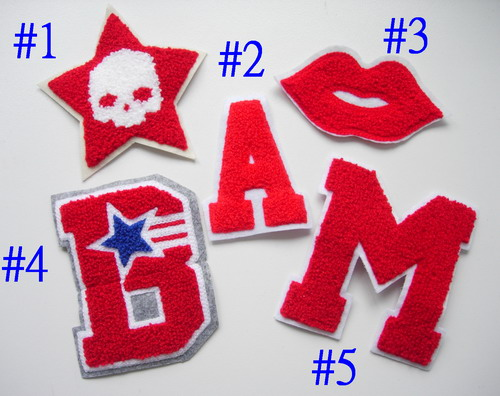 PC164 Assorted 5pcs Furry Applique Patch STAR LIPS ALPHABET