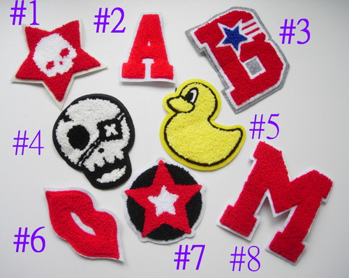 PC165 Assorted 8 Furry Patch STAR LIPS ALPHABET Skull Star Duck