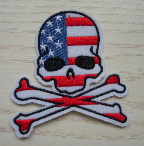 PC166 Punk Skull Crossbones Patriotic USA Flag Patch