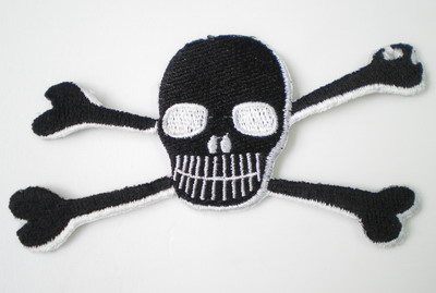 PC23 Rock Skull Crossbones Embroidery Patch Applique Iron On