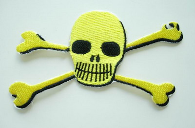 PC24 Rock Skull Crossbones Embroidery Patch Applique Yellow