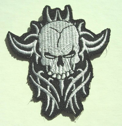 PC25 Flame Skull Embroidery Patch Applique Iron On