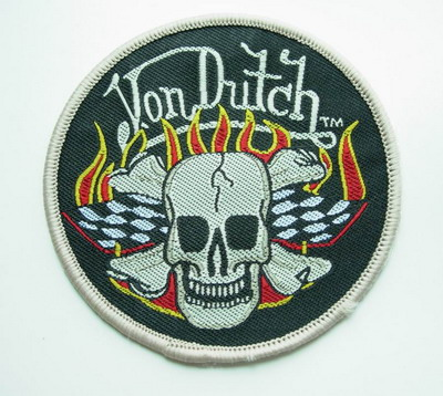 PC32 VD Hot Flame Skull Crossbones Embroidery Patch Applique