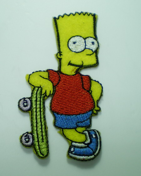 PC53 Simpsons Cartoon Patch Applique Bart Skateboard