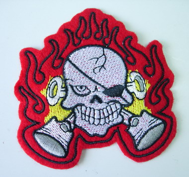 PC90 Skull Pirate Flame Embroidery Patch Applique Iron On Unique