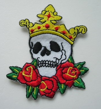 PC96 Punk Skull King Rose Embroidery Patch Applique Iron On