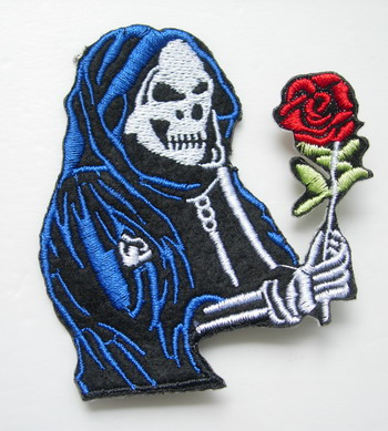 PC97 Before Christmas Night Skull Rose Embroidery Patch Iron On