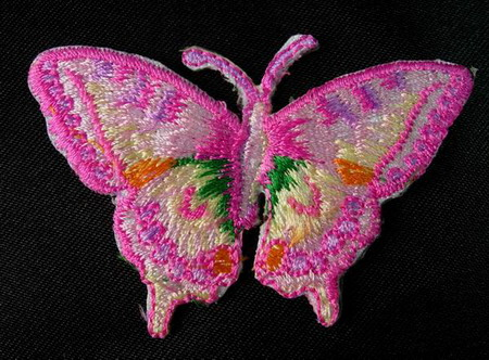 PM02 Pink Butterfly Embroidery Patch Applique Iron On