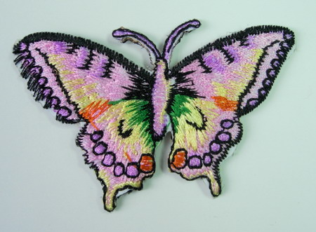 PM03 Purple Butterfly Embroidery Patch Applique Iron On
