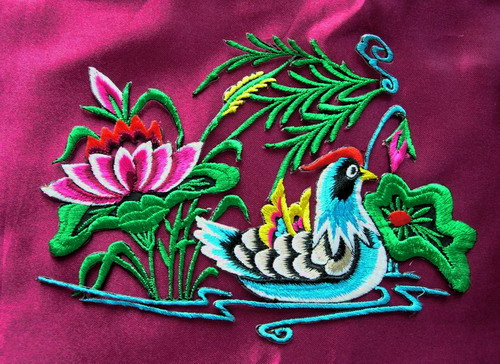 PM10 Left Mandarin Duck Embroidery Applique Iron On Art Craft
